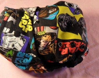 SassyCloth one size pocket diaper with Star Wars cotton print. Made to order.