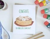 New Baby Greeting Card - Dumpling - Funny Pun