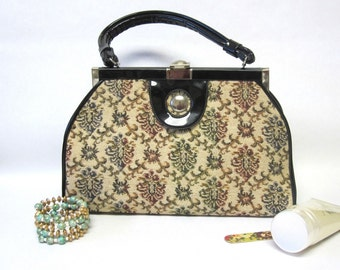 Top Handle Tapestry Handbag Firm Sided Purse