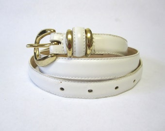Skinny White Leather Belt