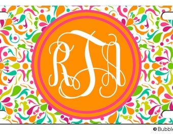 Personalized Exotic Floral Confetti Print License plate car Tag Name Monogram Hawaiian Flowers Hot Pink Lime Green