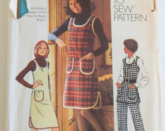 """1972 Simplicity 5207 Jumper Tunic & Pants """"How to Sew"""" Pattern;  Bust 38"""", Waist 30"""" Vintage Sz 16"""