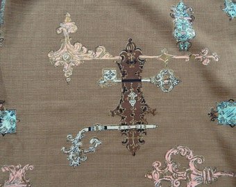 """Vintage 1950s Barkcloth Fabric Uncut Yardage Novelty Print 48""""W BTY New Old Stock"""