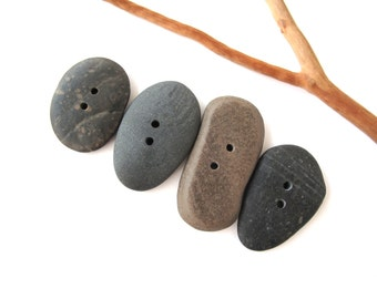 Stone Buttons Mediterranean Pebble Buttons Natural Stone Buttons River Stone Knitting Sewing Buttons Craft Artisan Supplies LARGE BUTTONS
