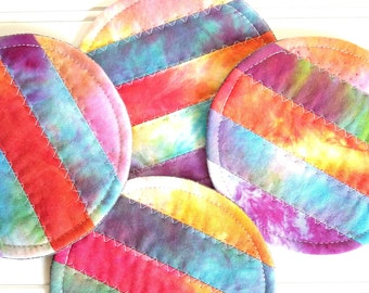 Quilted Coaster Set, Hand Dyed Fabric, Colorful Mug Rugs