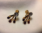 Vintage screw back earrings with deep red accent stones