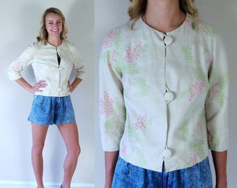 vtg 60s natural EMBROIDERED FLORAL romantic JACKET Small flowers button up 3/4 sleeve linen pink green boho hippie spring blazer