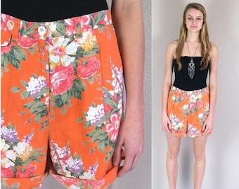 Half Off sale vtg 90s orange RALPH LAUREN floral roses SHORTS pleated Medium linen high waist preppy grunge revival print
