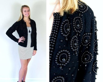 Half Off vtg 80s black BEADED lambswool angora KNIT CARDIGAN Small/Medium sweater pinup circles ornate