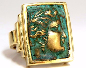 Designer Greek God Rectangular ring 3D Embossed 14kt