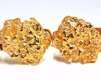 18kt gold nugget cufflinks