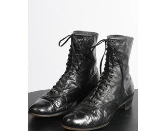 antique edwardian boots/ 1900s 1910s lace up shoes/ ankle boots