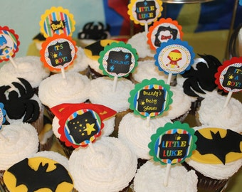 Baby Super Hero Cup Cake Toppers