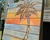 Palm Tree wood burn and painting on wood