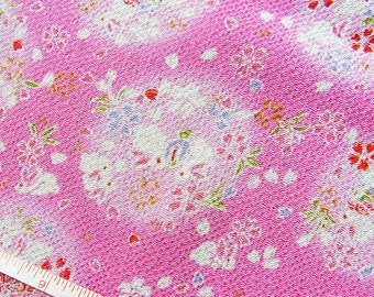 Lucky bunnies in pink,Japanese kimono fabric chirimen Gold Metallic Glitters