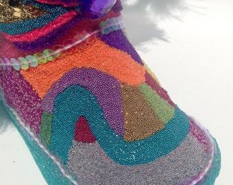 New Orleans Mardi Gras Indian Glitter Shoe Folk Art