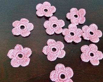 Ten Crochet Flower Appliques or Embellishments in Pink