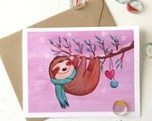 Snuggly Sloth Christmas Card by Megumi Lemons