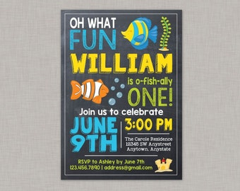 O-Fish-Ally One Birthday Invitation