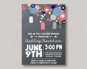 Mason Jar Invitation, Mason Jar Baby Shower Invitation, Mason Jar Bridal Shower Invitation, Mason Jar Birthday Invitation, Chalkboard