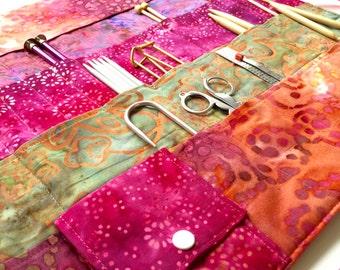 Large Knitting Needle Case With/Without Pocket/Organizer in 100% Batik Cotton          (item K117)