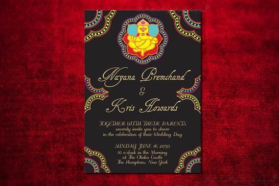 Ganesha indian wedding invitation design card engagement party like this item stopboris Choice Image