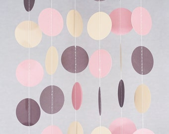 Circle Dots Paper Garland (10 Feet Long) - Blush Pink, Ivory, Brown