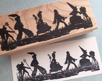 Trick or Treat Parade Wood Mounted Rubber Stamp 6454