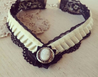 Black lace choker, victorian collar, steampunk choker