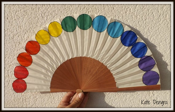 Rainbow Pride Circles Arch LGBT or Any Color Design Customized or Plain Flamenco Painted Wooden Folding Hand Handheld Fan by Kate Dengra