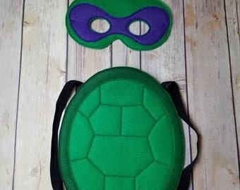 Donatello purple TMNT Teenage Mutant Ninja Turtles Masks and shell Pretend Play Dress Up Halloween costume