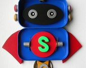 Hanging Bot - Super Bot - Wall Decor - Hanging Decor - Found Object Assemblage by Jen Hardwick