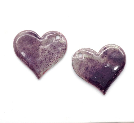 Copper Enameled Hearts