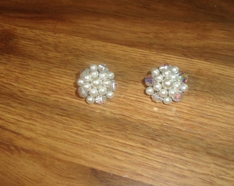 vintage clip on earrings aurora borealis glass faux pearls clusters