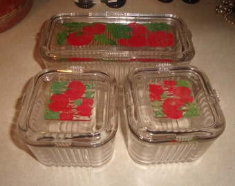 vintage 6 piece refrigerator storage jar boxes containers ribbed tomato