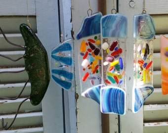 Wind Chime- fish With long tail handmade by dalit glass