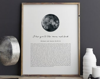 Valentines Day Gift. Wedding Vows Keepsake Print for Newlyweds & Anniversaries - I Love You to the Moon