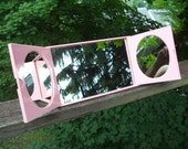 Vintage Mirror Table Top Tri Fold Make Up Mirror Travel Mirror Powder Room Mirror Lucite Pink