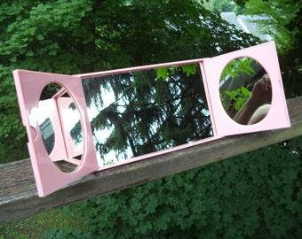 Vintage 3-Mirror Travel Mirror in Pink