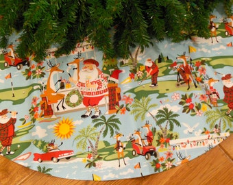 "Golf Christmas Tree Skirt, Golfing Decoration, Gift for Golfer, Golfing Santa Claus, Tropical Santa, Reindeers, 42"" Diameter Xmas Tree Skirt"