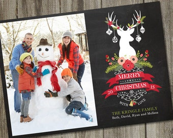 Holiday Photo Card, Christmas Photo Cards PRINTABLE, Christmas Photo Cards Digital, Photo Card , Chalkboard Christmas Deer ID: PC15798