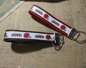 Key Fob or Key Ring with Cleveland Brown Sports team ribbon sewn on