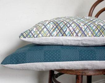 Teal Decorative Pillow. Recycled Vintage Japanese Kimono. Boro / Sashiko Motif
