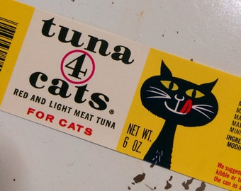 Tuna 4 Cats 1950's Vintage New Old Stock Can Labels Set of 10