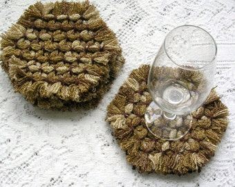 Drink Coasters - Sparkle Gold Brown Woven Coasters - Hexagon Loom Coaster Set - Shabby Cottage Chic Decor