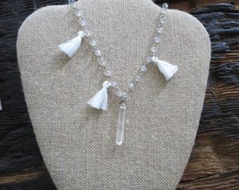 Quartz and tassel rosary necklace