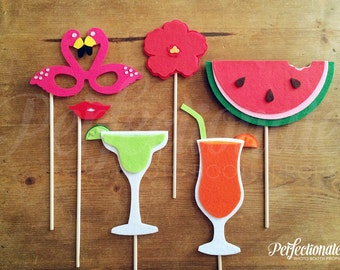 Beach Party Photo-Booth Prop Set | Summer Photo-Booth Props | Stiff FELT and Soft FELT | Summer Party Props