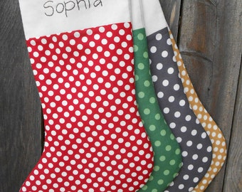 Personalized Christmas Stocking in Modern Polka Dots / Large Christmas Stocking /  Christmas Holiday Decor in Red, Gold,