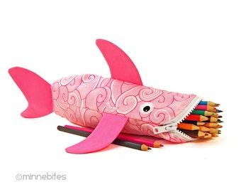School Bag - Cute Shark Pouch - Pink Pencil Case Organizer - Girls Toy Bag - Art Storage - Kids School  Zipper Pouch - Personalized Bag