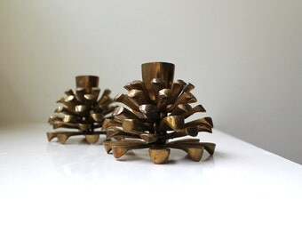 Vintage Brass Pine Cone Candle Holders Pair Danish Modern 1960's